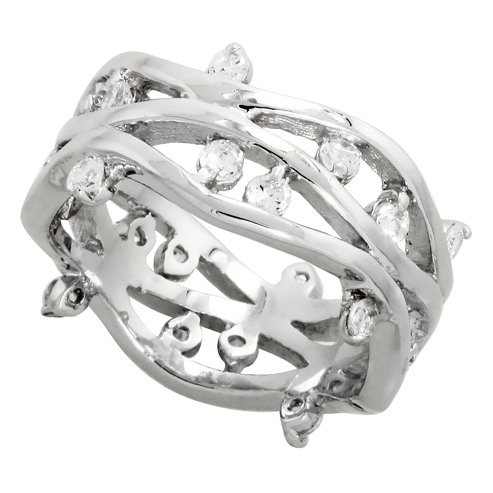 Sterling Silver Vine Pattern Cubic Zirconia Ring with High Quality Brilliant Cut CZ Stones, 3/8 inch (10 mm) wide