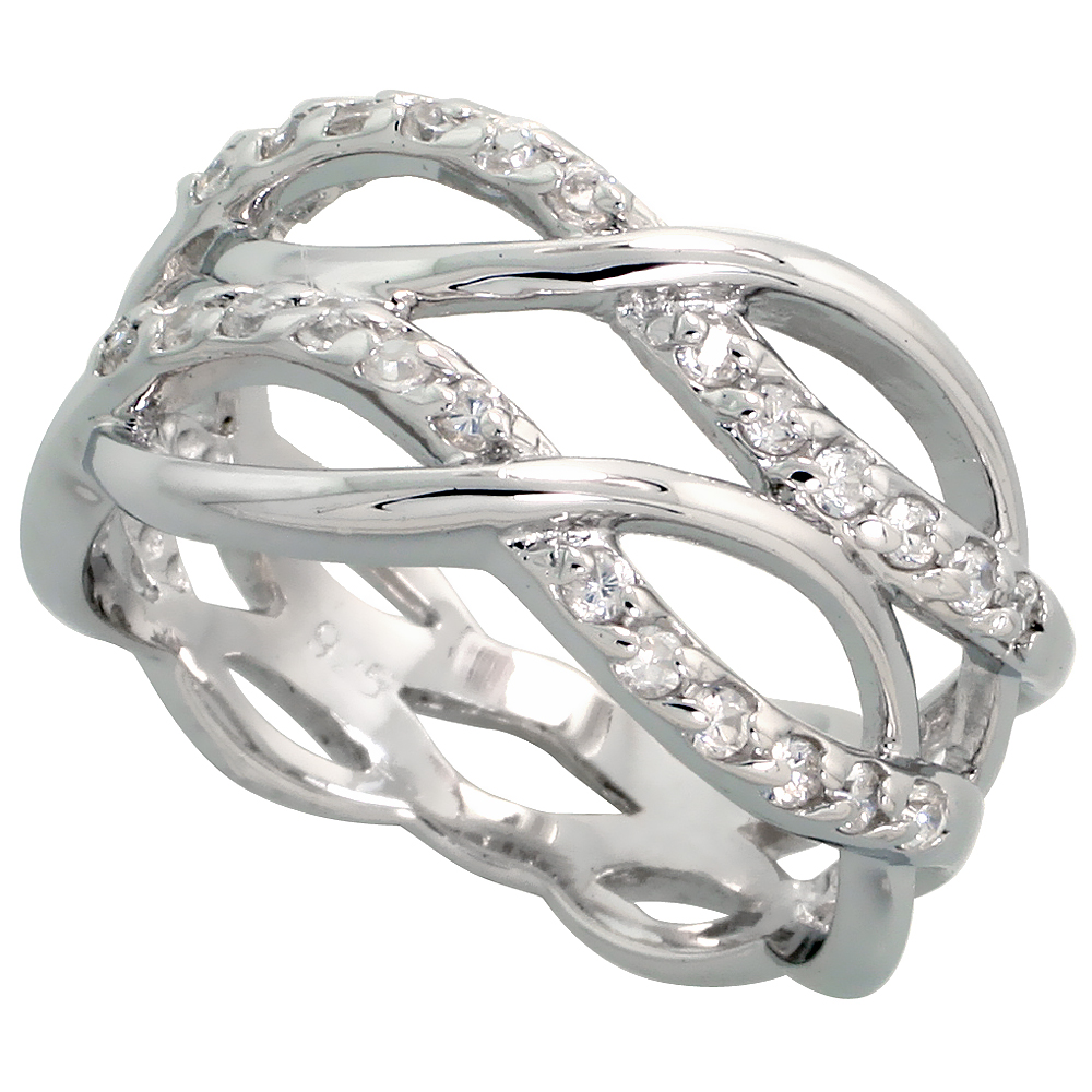 Sterling Silver Double Infinity Pattern Cubic Zirconia Ring with High Quality Brilliant Cut CZ Stones, 7/16 inch (11 mm) wide