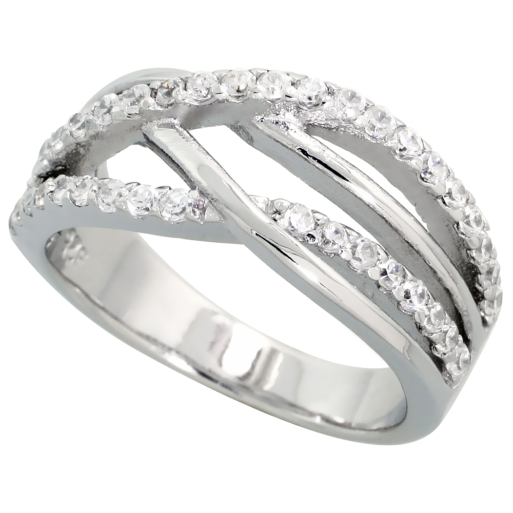 Sterling Silver Loose Weave Pattern Cubic Zirconia Ring with High Quality Brilliant Cut Stones, 3/8 inch (9 mm) wide