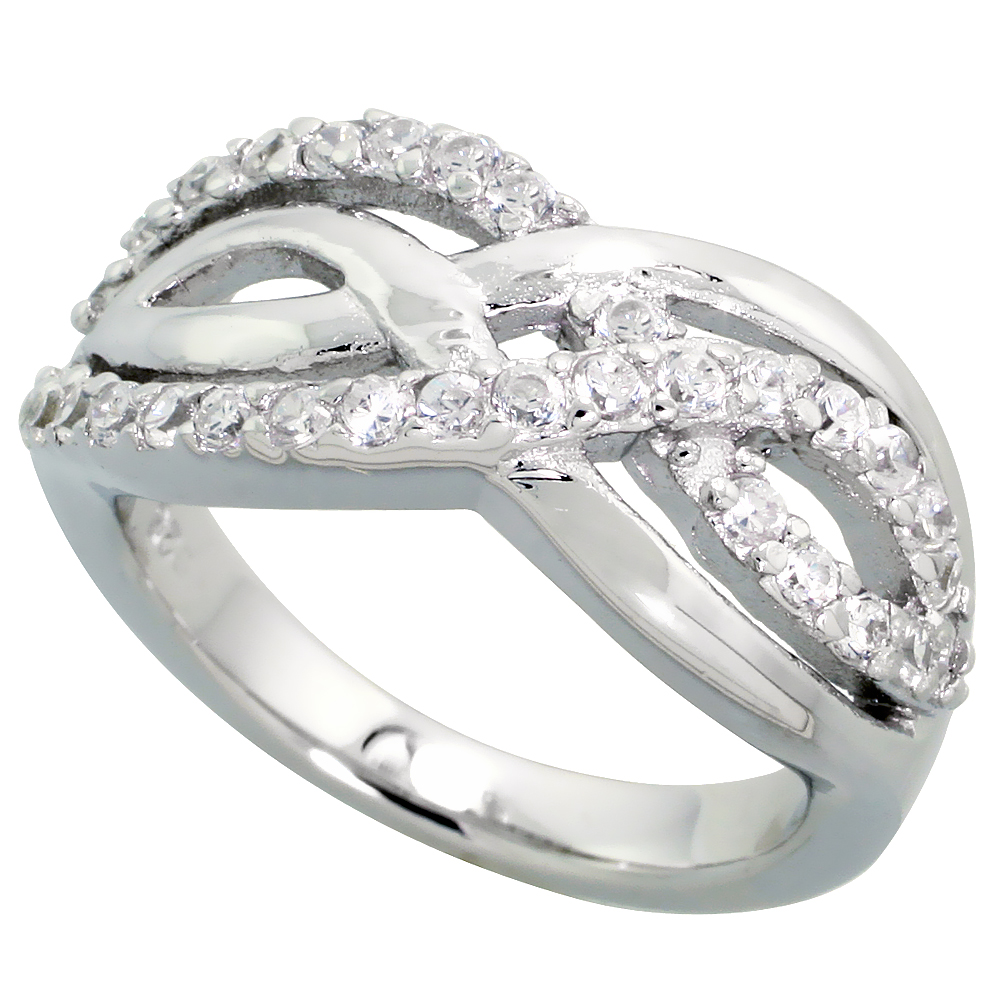 Sterling Silver Double Ribbon Cubic Zirconia Ring with High Quality Brilliant Cut Stones, 3/8 inch (10 mm) wide