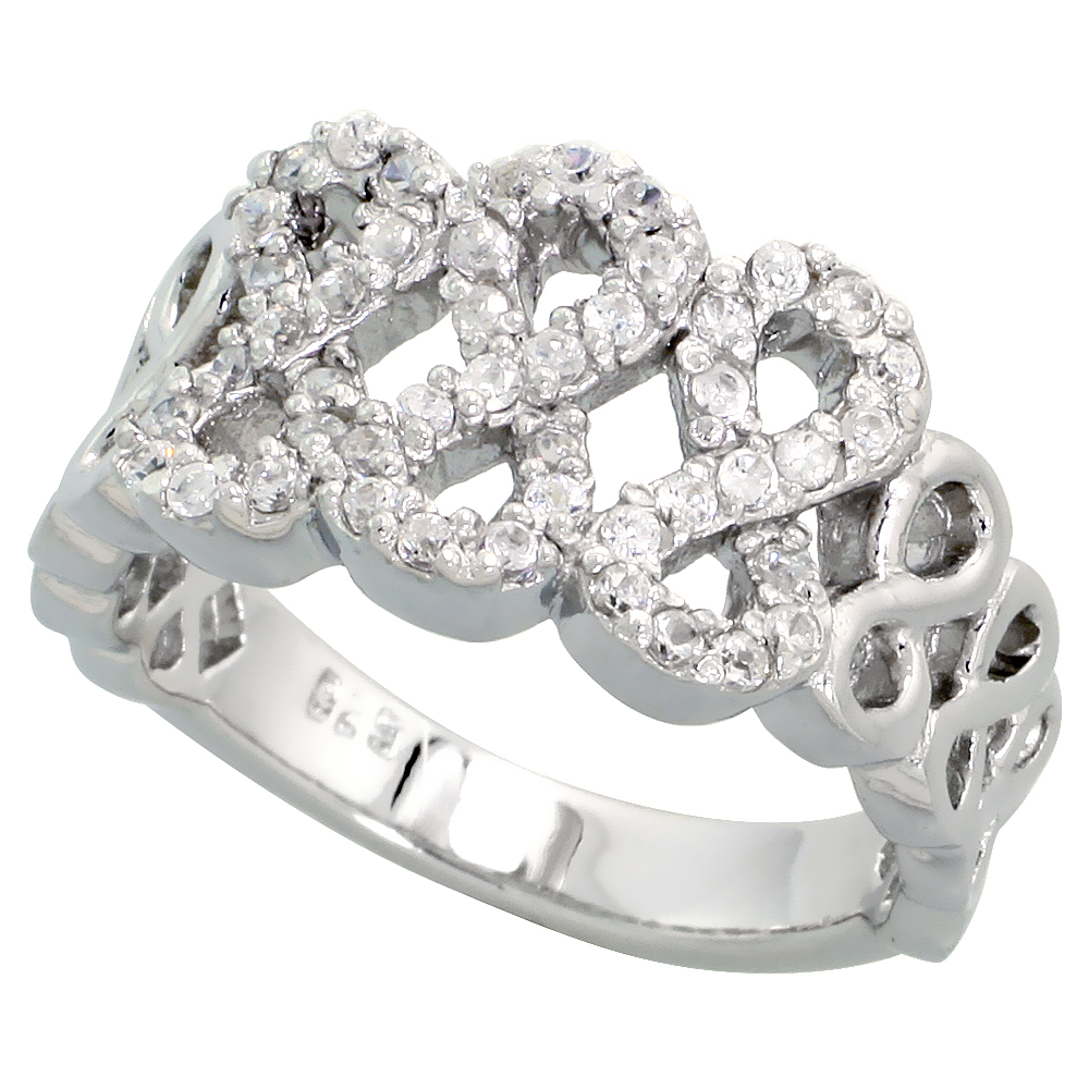 Sterling Silver Good Luck 888 Cubic Zirconia Ring with High Quality Brilliant Cut Stones, 7/16 inch (11 mm) wide