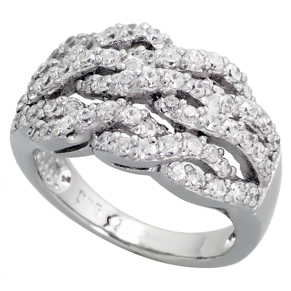 Sterling Silver Triple Rope Pattern Cubic Zirconia Ring with High Quality Brilliant Cut Stones, 1/2 inch (12 mm) wide