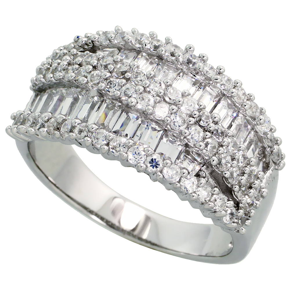 Sterling Silver Cigar Band Cocktail Cubic Zirconia Ring with High Quality Brilliant & Baguette Cut Stones, 1/2 inch (12 mm) wide
