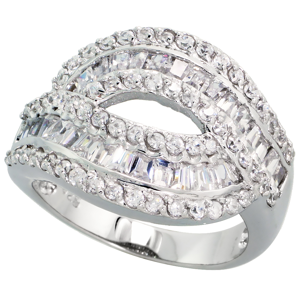 Sterling Silver Cocktail Cubic Zirconia Ring with High Quality Brilliant & Baguette Cut Stones, 11/16 inch (17 mm) wide