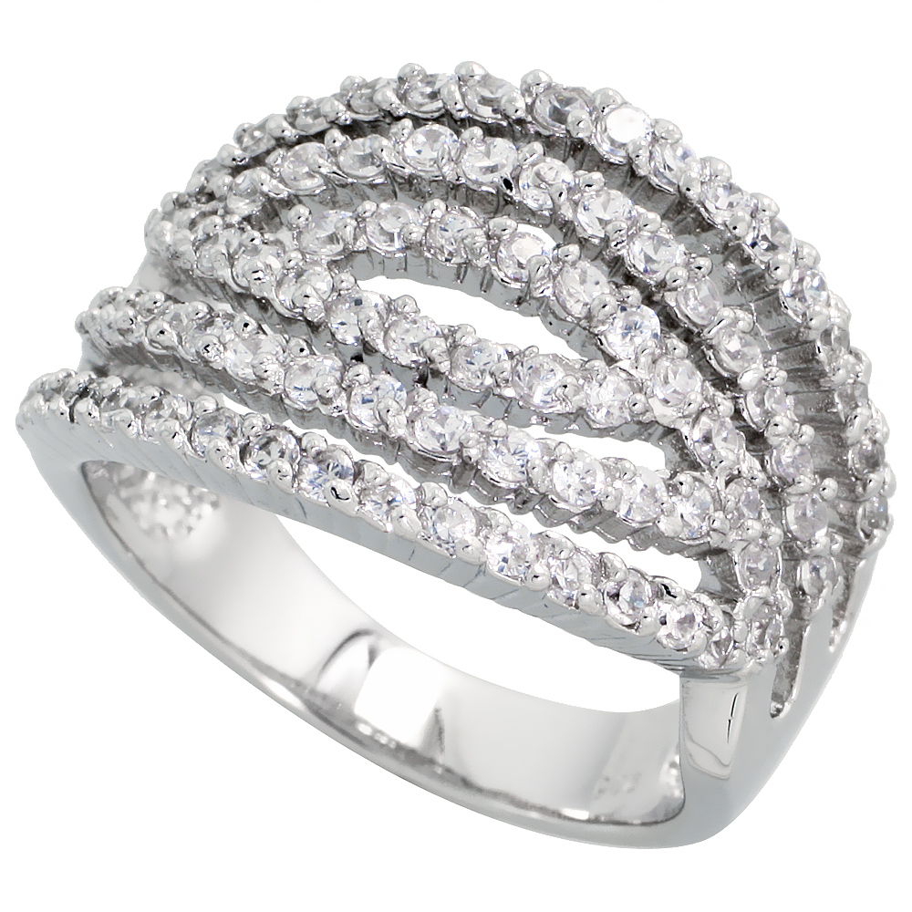 Sterling Silver 6-row Cut-out Cubic Zirconia Ring with High Quality Brilliant Cut Stones, 11/16 inch (17 mm) wide