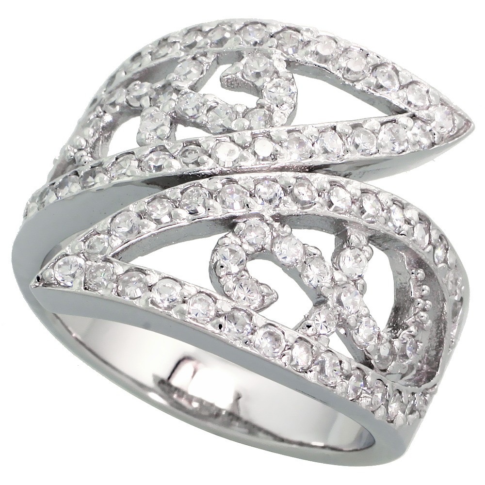 Sterling Silver Spoon Shape Cubic Zirconia Ring with High Quality Brilliant Cut CZ Stones, 11/16 inch (18 mm) wide