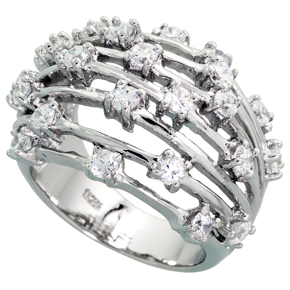 Sterling Silver Domed Wire Cubic Zirconia Ring with High Quality Brilliant Cut Stones, 11/16 inch (17 mm) wide
