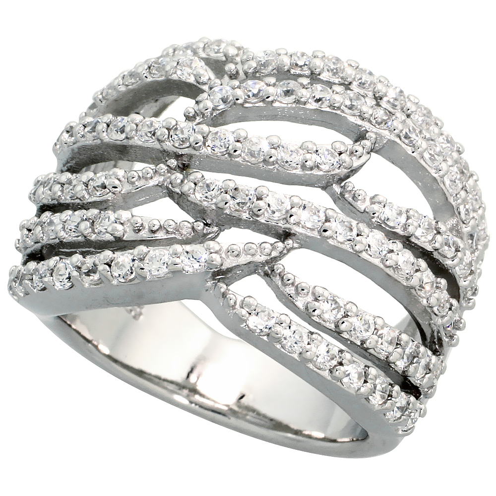 Sterling Silver Flames Pattern Cubic Zirconia Ring with High Quality Brilliant Cut Stones, 11/16 inch (17 mm) wide