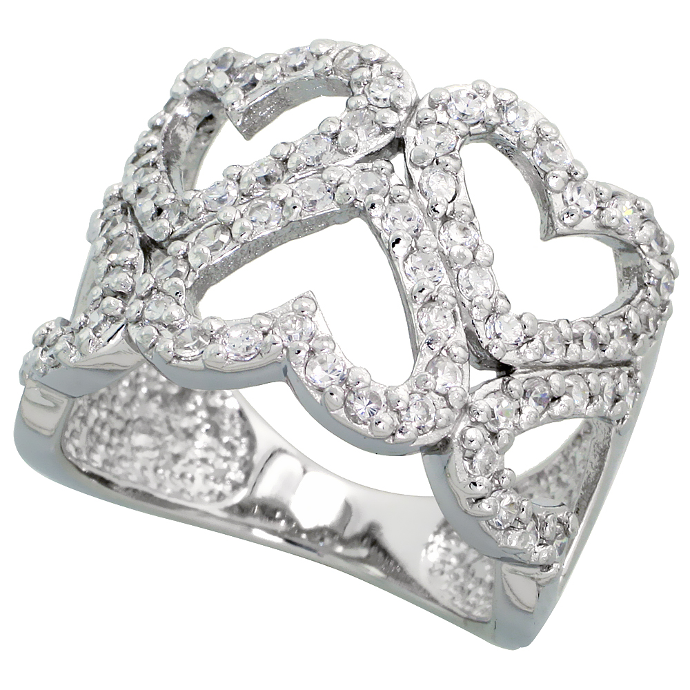 Sterling Silver Hearts Cut Out Cubic Zirconia Ring with High Quality Brilliant Cut CZ Stones, 5/8 inch (16 mm) wide