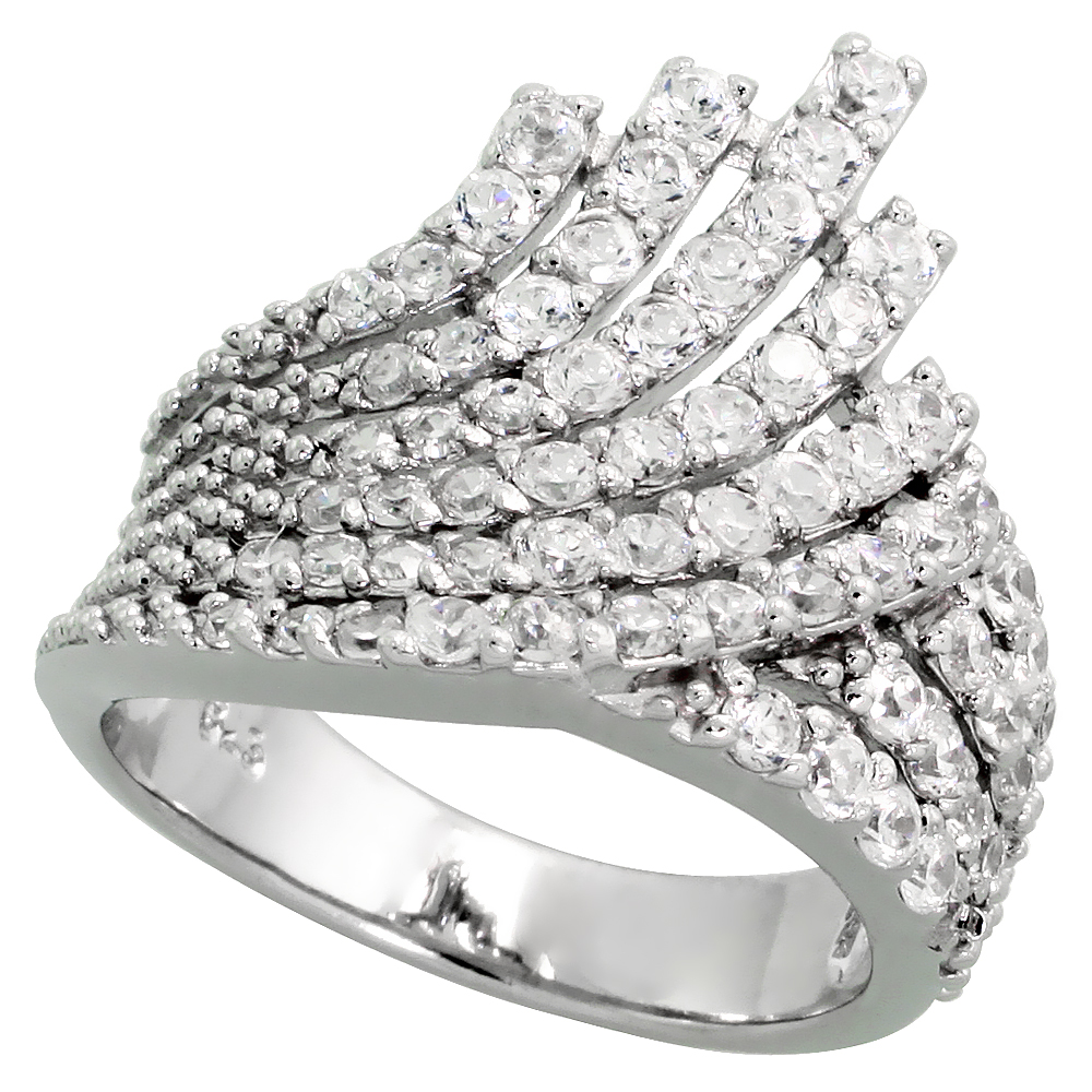 Sterling Silver Fan Shape Cubic Zirconia Ring with High Quality Brilliant Cut CZ Stones, 3/4 inch (20 mm) wide