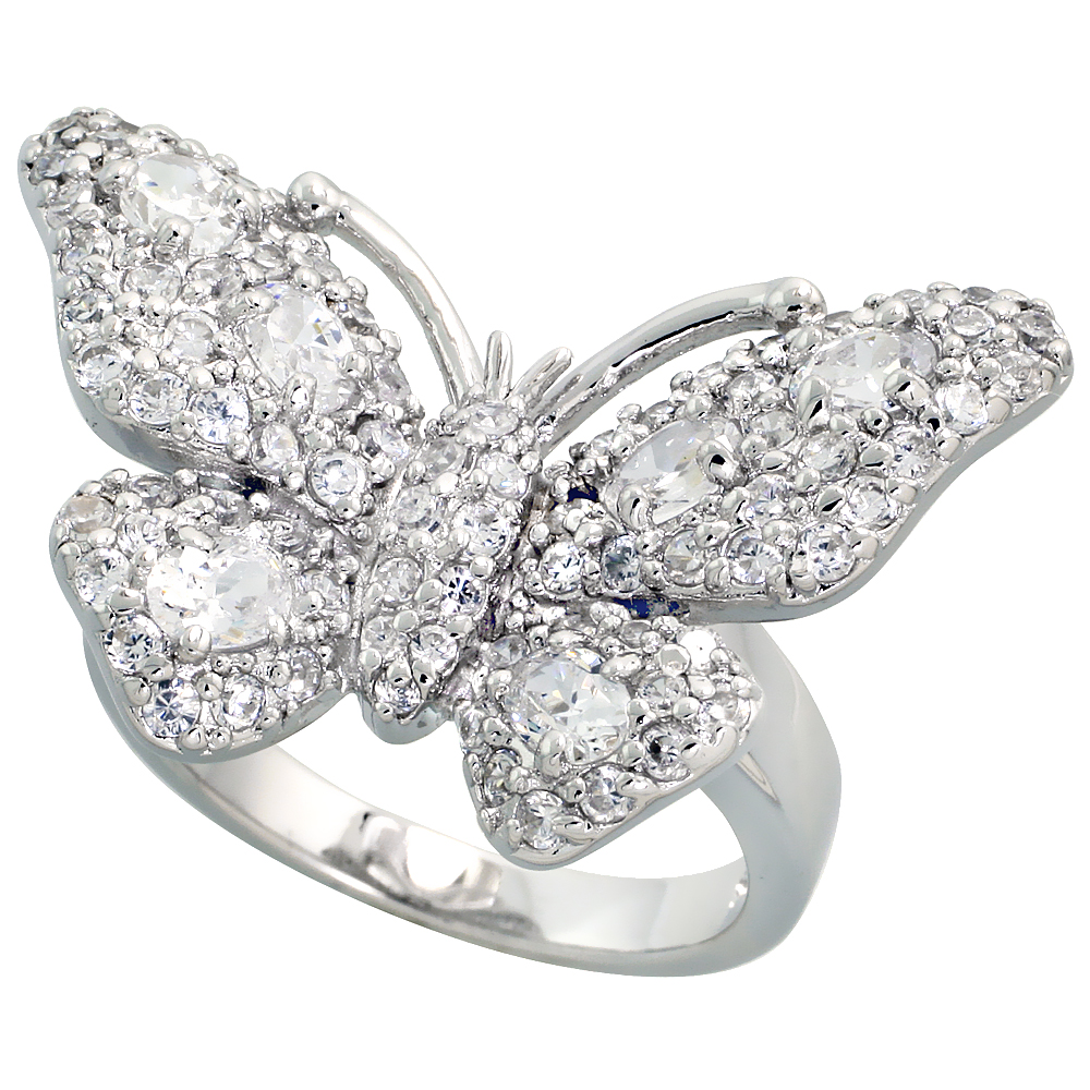 Sterling Silver Butterfly Cubic Zirconia Ring Covered with assorted High Quality CZ Stones, 1 1/2 inch (30 mm) wide