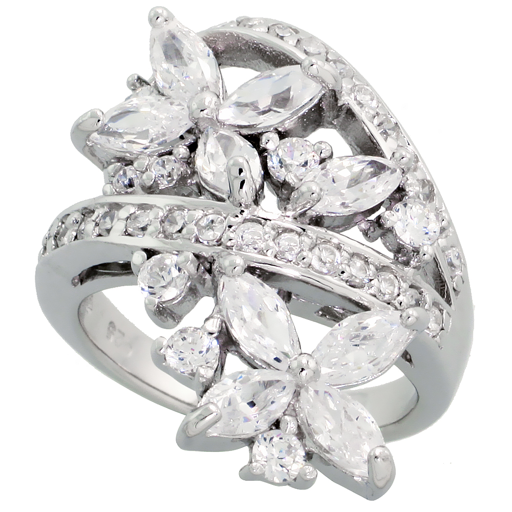Sterling Silver Flower Garden Cubic Zirconia Ring with 1/4 carat size Marquise Cut Stones, 1 1/8 inch (28 mm) wide