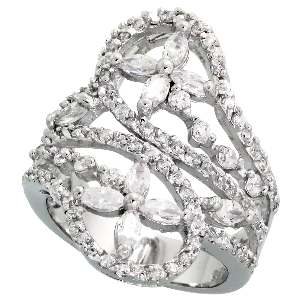 Sterling Silver Flower Pattern Cubic Zirconia Spoon Ring with 1/10 carat size Marquise Cut Stones, 1 1/16 inch (27 mm) wide