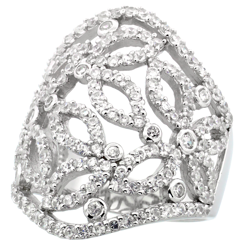 Sterling Silver Butterfly Cigar Band Cubic Zirconia Ring with High Quality Brilliant Cut CZ Stones, 1 1/8 inch (28 mm) long