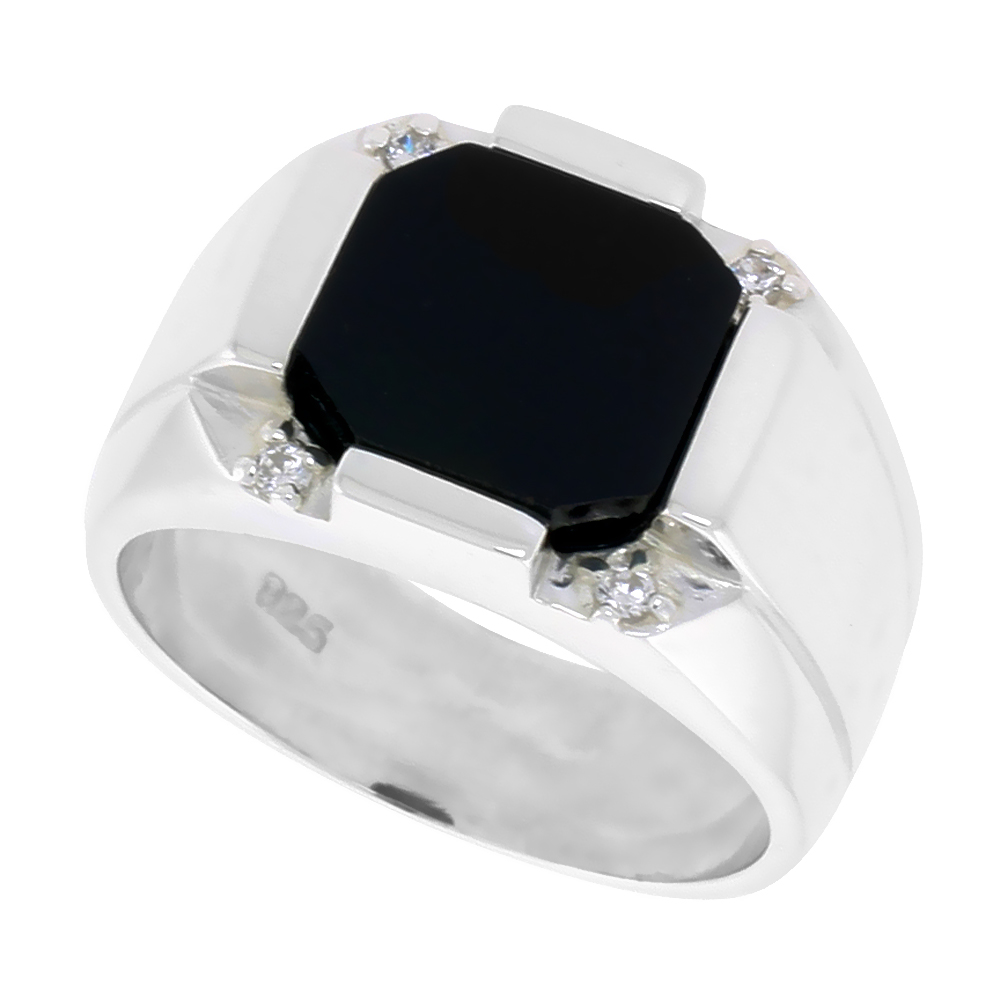 Sterling Silver Mens Octagon Black Onyx Ring 2 Grooves CZ Accent 1/2 inch wide, sizes 8 - 13