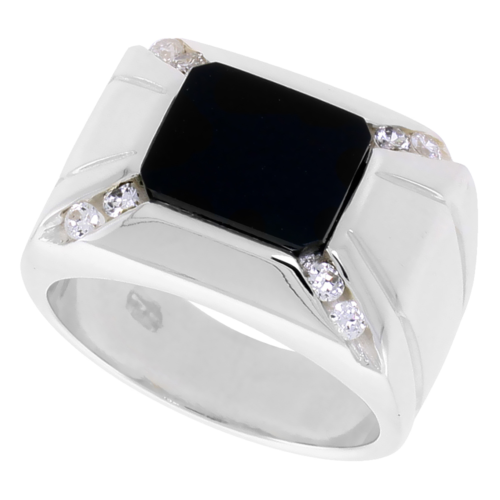 Sterling Silver Mens Rectangular Black Onyx Ring 2 Grooves CZ Accent 9/16 inch wide, sizes 8 - 13