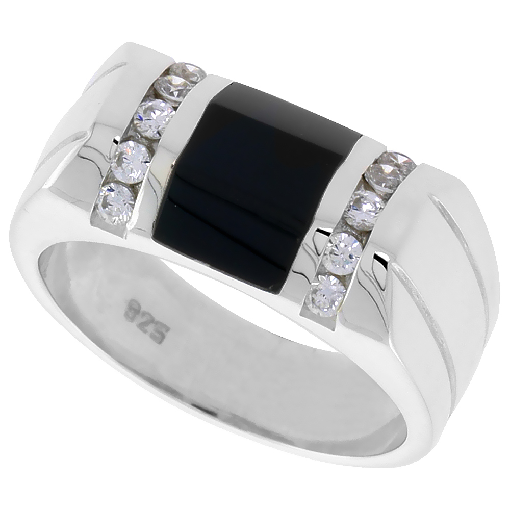 Sterling Silver Mens Rectangular Black Onyx Ring Beveled 2 Grooves CZ Accent 3/8 inch wide, sizes 8 - 13