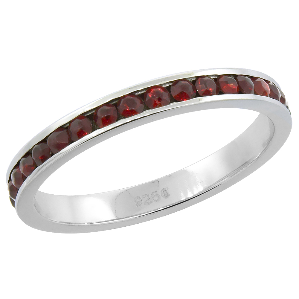 "Sterling Silver Stackable Eternity Band, January Birthstone, Garnet Crystals, 1/8"" (3 mm) wide"