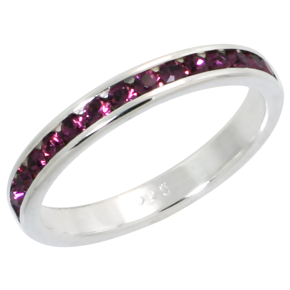 "Sterling Silver Stackable Eternity Band, February Birthstone, Amethyst Crystals, 1/8"" (3 mm) wide"