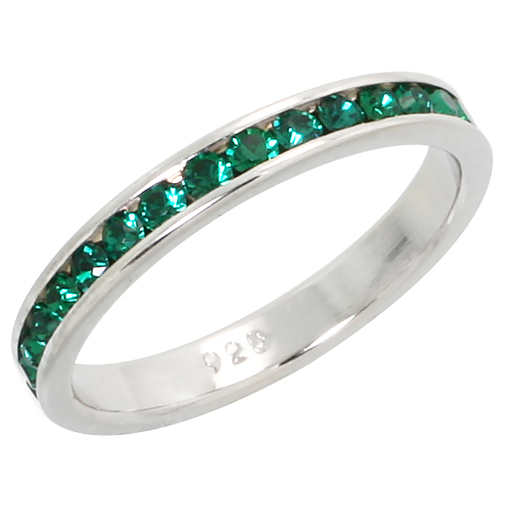 "Sterling Silver Stackable Eternity Band, May Birthstone, Emerald Crystals, 1/8"" (3 mm) wide"