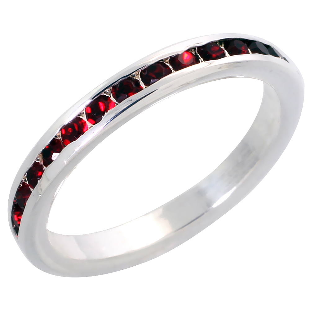 "Sterling Silver Stackable Eternity Band, July Birthstone, Ruby Crystals, 1/8"" (3 mm) wide"