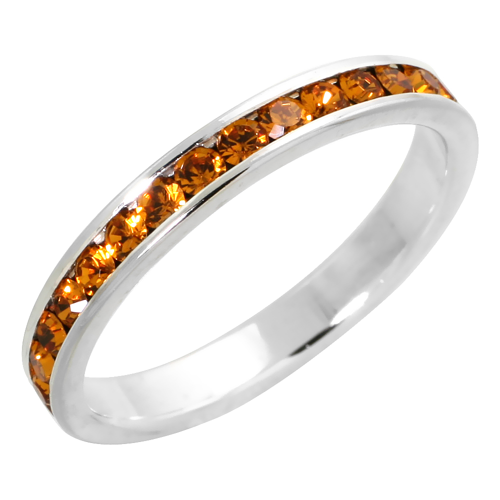 "Sterling Silver Stackable Eternity Band, November Birthstone, Citrine Crystals, 1/8"" (3 mm) wide"