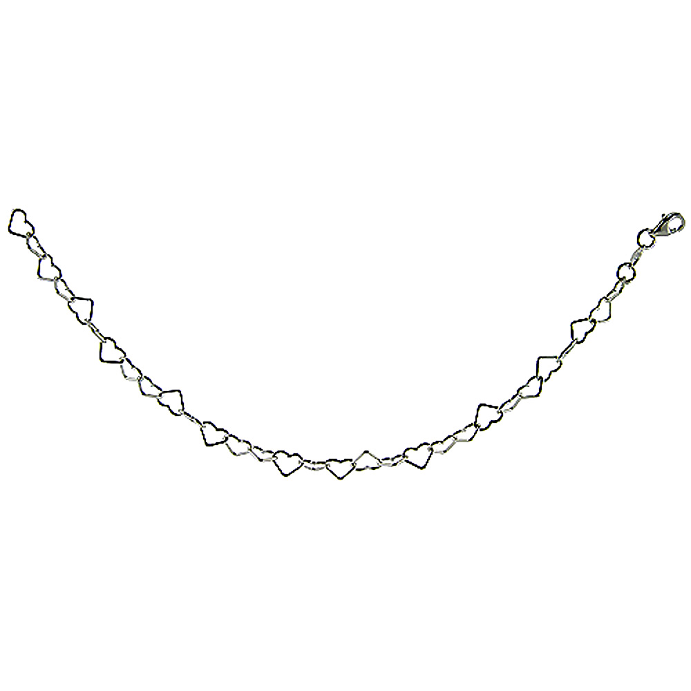 Sterling Silver Heart Chain Necklaces & Bracelets 6mm Nickel free Italy, Sizes 7 - 30 inch