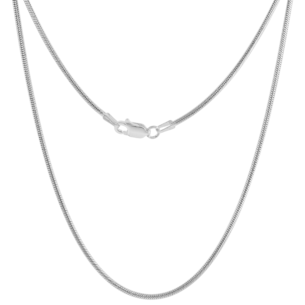 Sterling Silver 0.9mm - 3mm Plain Snake Chain Necklaces Bracelets & Anklets for women and Men Nickel Free Italy 7-30inch
