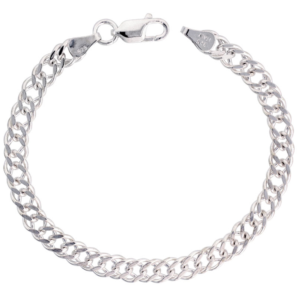 Sterling Silver Flat Double Curb Chain Necklaces & Bracelets 5.6mm Nickel Free Italy, sizes 7 - 30 inch