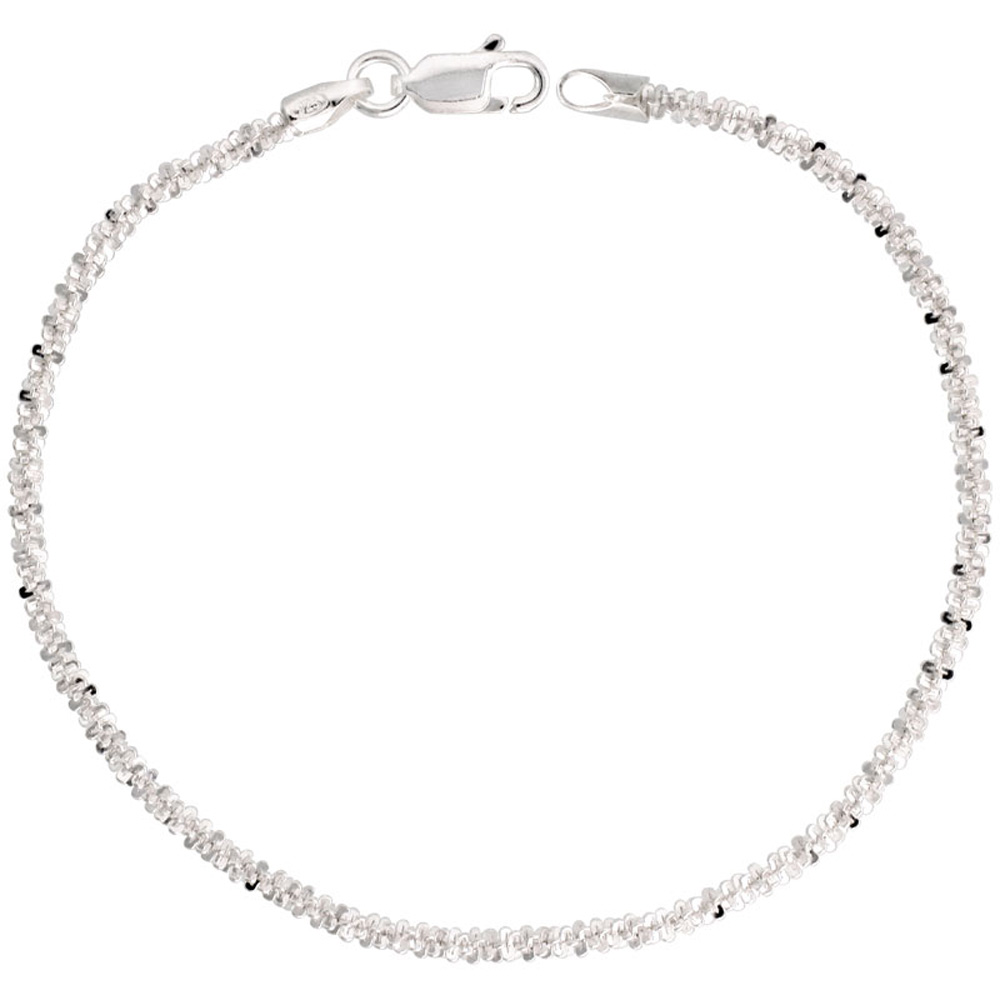 Sterling Silver Sparkle Rock Chain Necklaces & Bracelets 2.3mm Diamond cut Nickel Free Italy, 7-30 inch