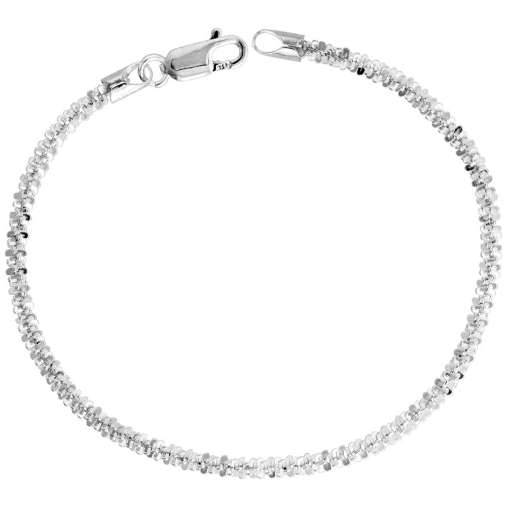 Sterling Silver Sparkle Rock Chain Necklaces & Bracelets 2.9mm Diamond cut Nickel Free Italy, 7-30 inch
