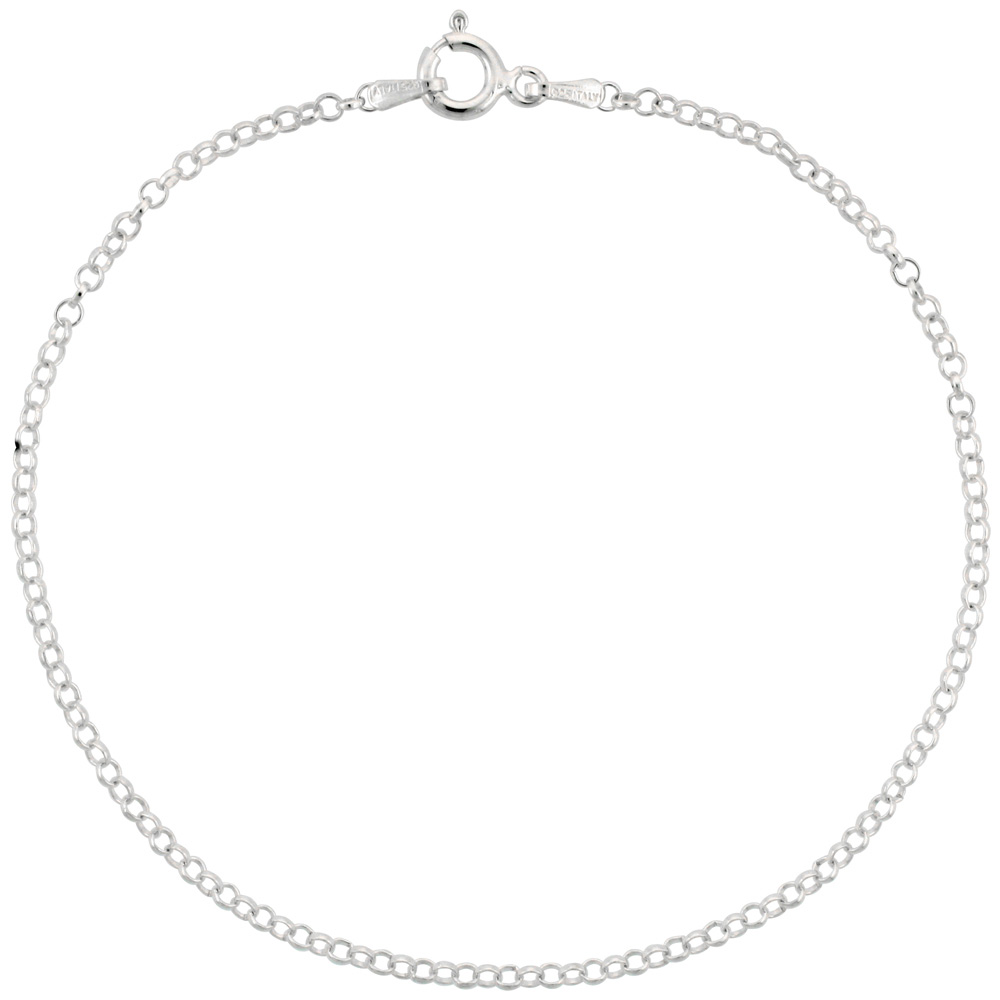 Sterling Silver Italian Rolo Chain Necklace 2mm Thin Nickel Free, sizes 7 - 30 inch