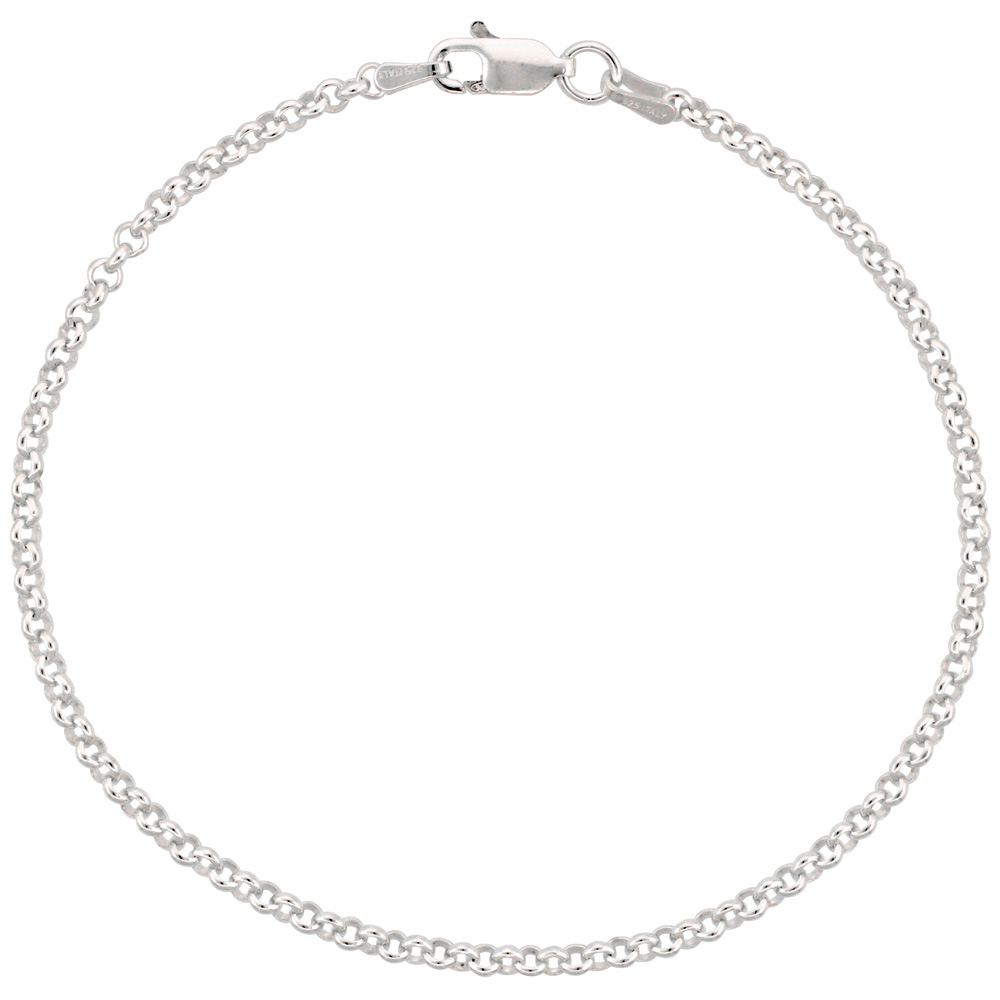 Sterling Silver Italian Rolo Chain Necklace 2.5mm Nickel Free Italy, sizes 7 - 30 inch
