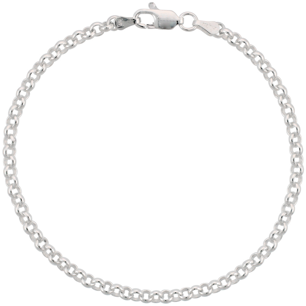 Sterling Silver Italian Rolo Chain Necklace 3.5mm Nickel Free, sizes 7 - 30 inch