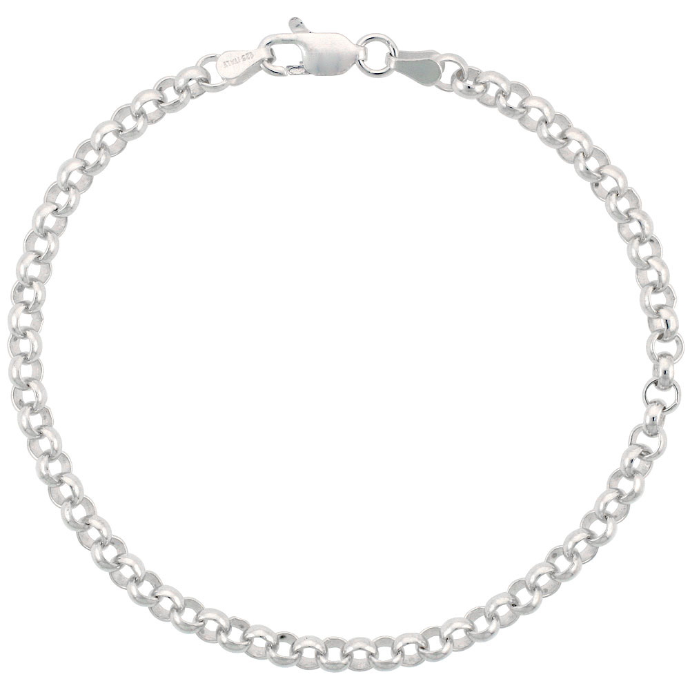 Sterling Silver Italian Rolo Chain Necklace & Bracelet 4mm Medium Thick Nickel Free, sizes 7 - 30 inch
