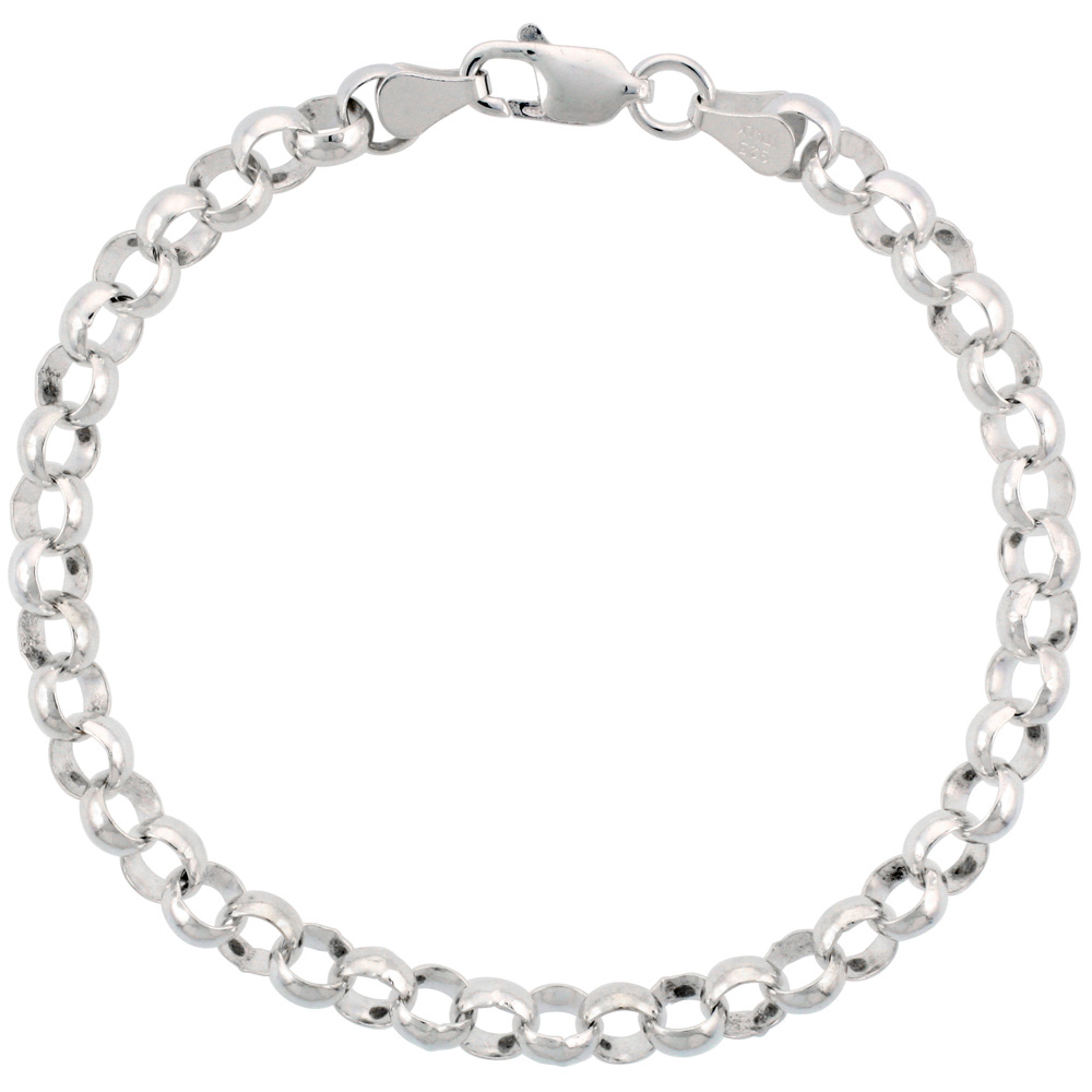 Sterling Silver Rolo Chain Necklace 6mm Nickel Free Italy, sizes 7 - 30 inch