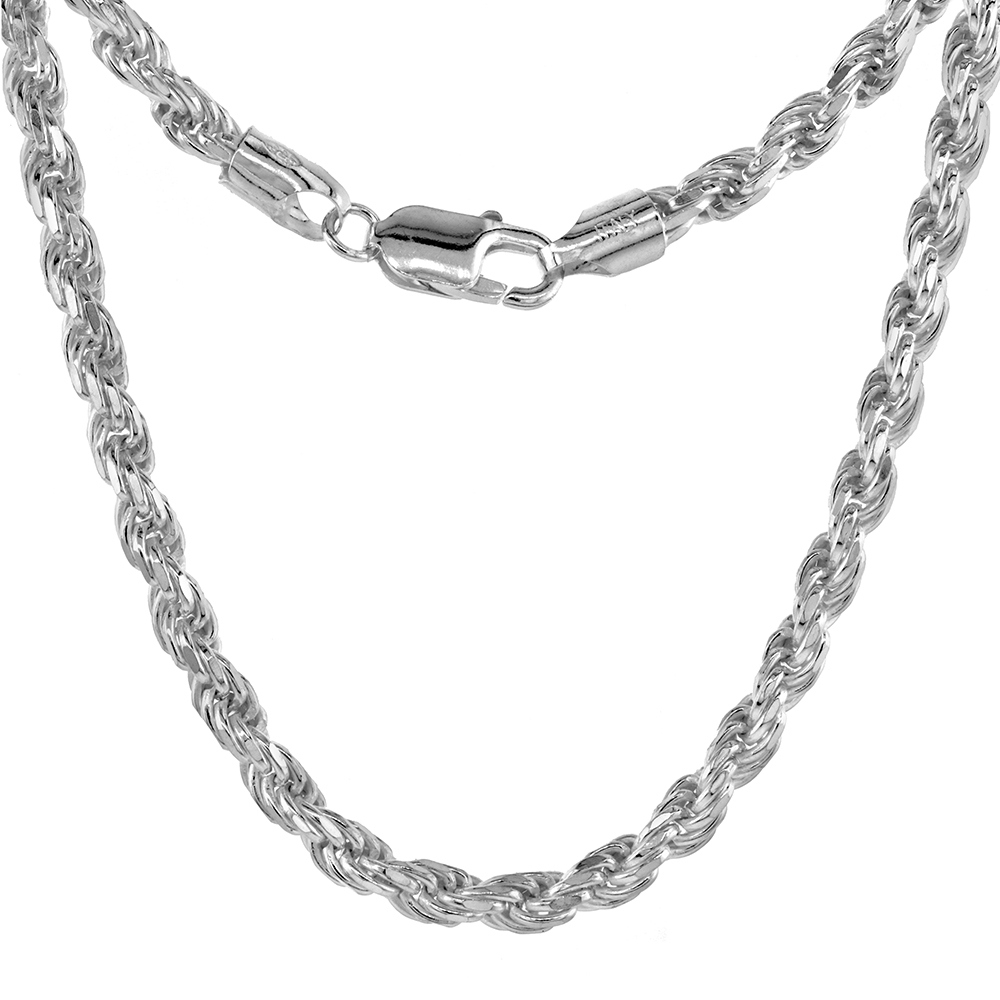 Sterling Silver Thick Rope Chain Necklaces & Bracelets 4.5mm Diamond cut Nickel Free Italy, 7-30 inch