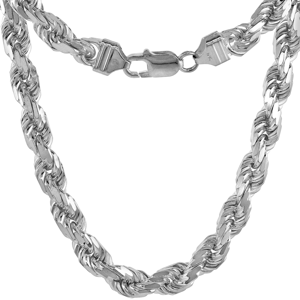 Sterling Silver Thick Rope Chain Necklace 7mm Diamond-cut Handmade Nickel Free Italy, 8-30 inch