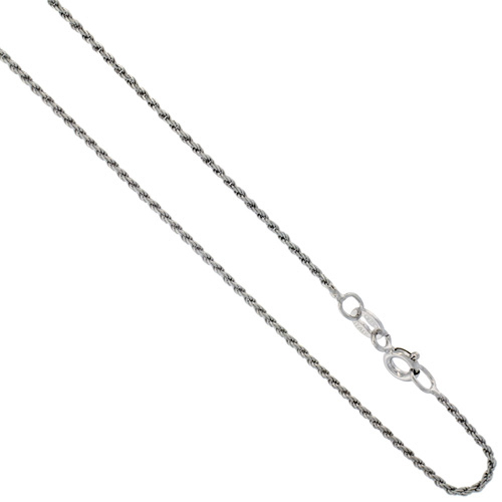 Sterling Silver Rope Chain Necklace 1mm Very Thin Rhodium Finish Diamond cut Nickel Free, 16- 20 inch