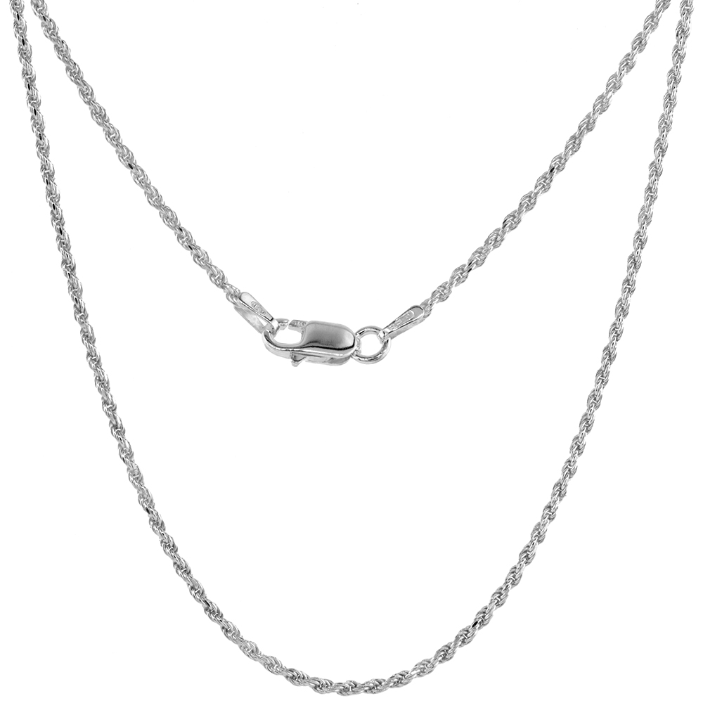 Sterling Silver Rope Chain Necklaces & Bracelets 1.5mm Thin Diamond cut Nickel Free Italy, 7-30 inch