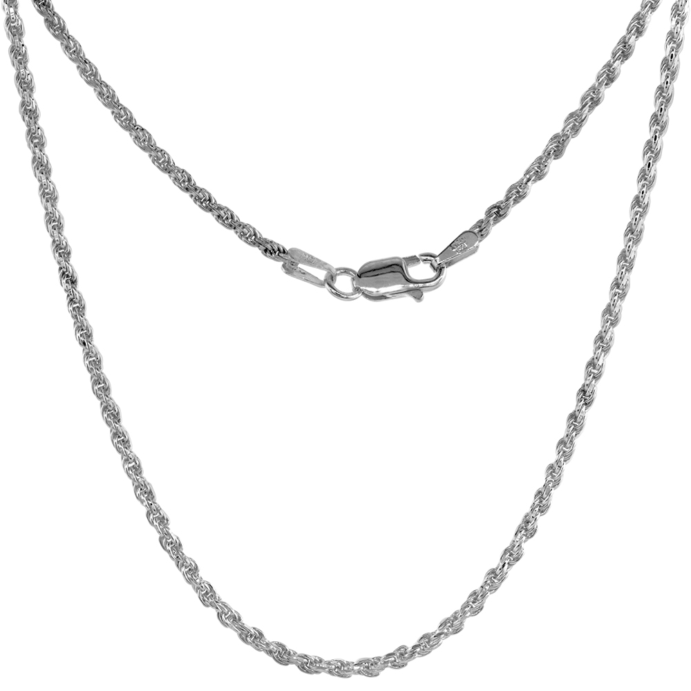 Sterling Silver Rope Chain Necklaces & Bracelets 1.8 mm Thin Diamond cut Nickel Free Italy, 7-30 inch