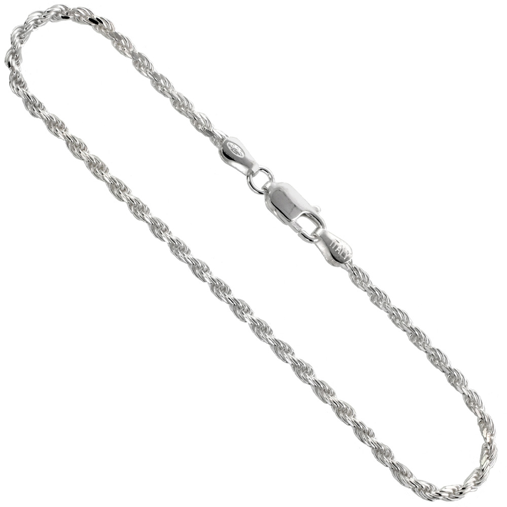 Sterling Silver Rope Chain Necklaces & Bracelets 2.4 mm Diamond cut Nickel Free Italy, sizes 7 - 30 inch