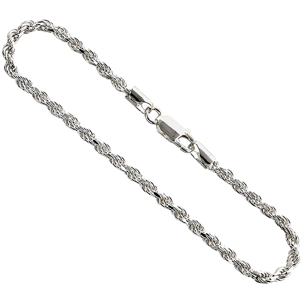 Sterling Silver Rope Chain Necklaces & Bracelets 3mm Diamond cut Nickel Free Italy, sizes 7 - 30 inch