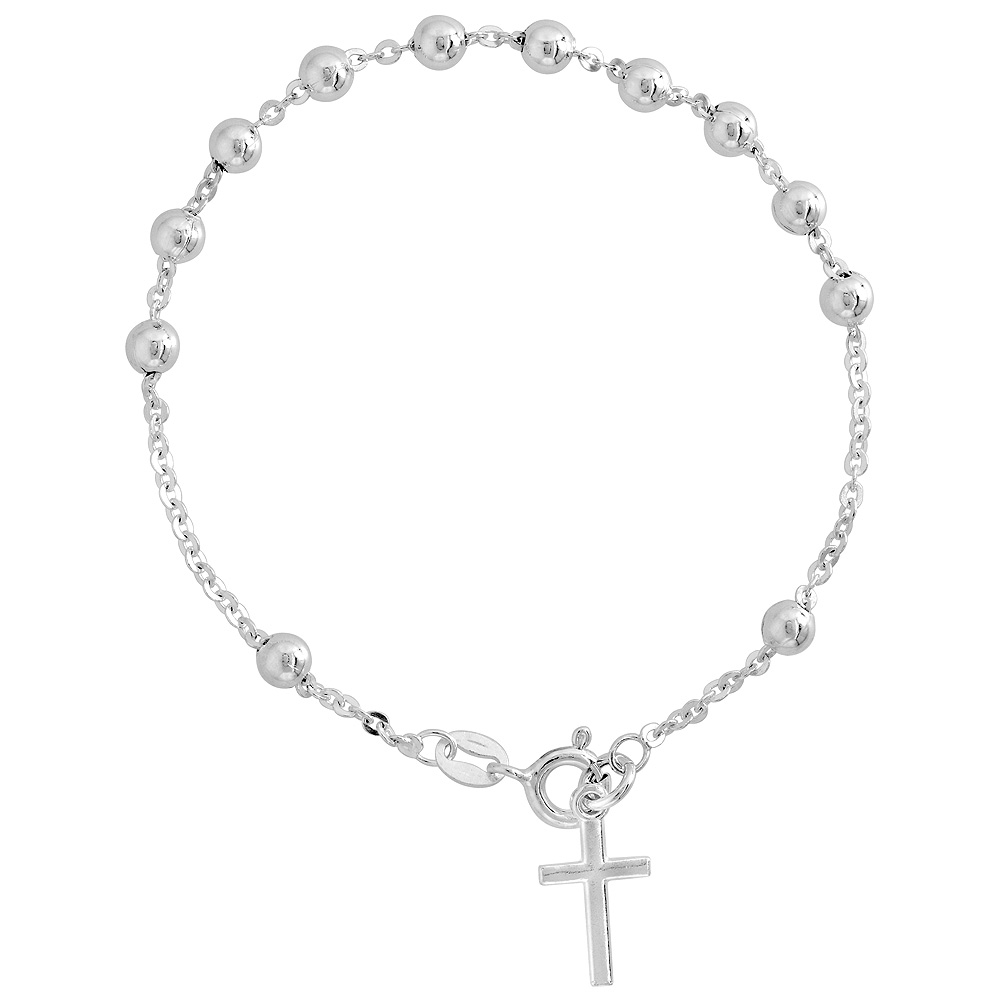 Sterling Silver Rosary Bracelet 4 mm Beads Cable Chain Italy 7 inch