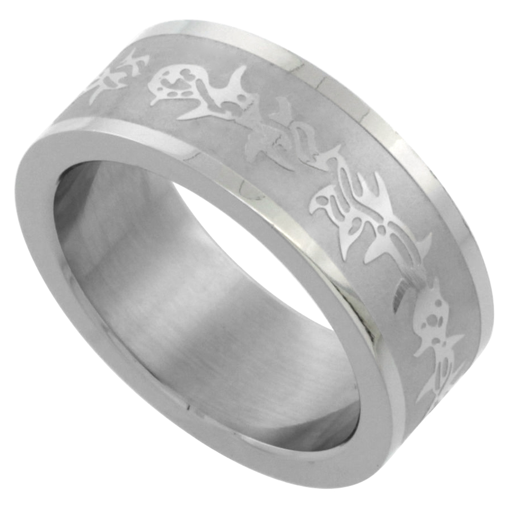 Surgical Stainless Steel 8mm Wedding Band Ring Barbed Wire Design, sizes 7 - 14