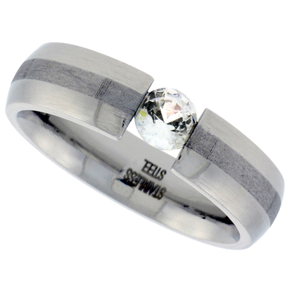 Surgical Stainless Steel Tension Set 6 mm Cubic Zirconia Wedding Band Ring comfort fit, sizes 7 - 14