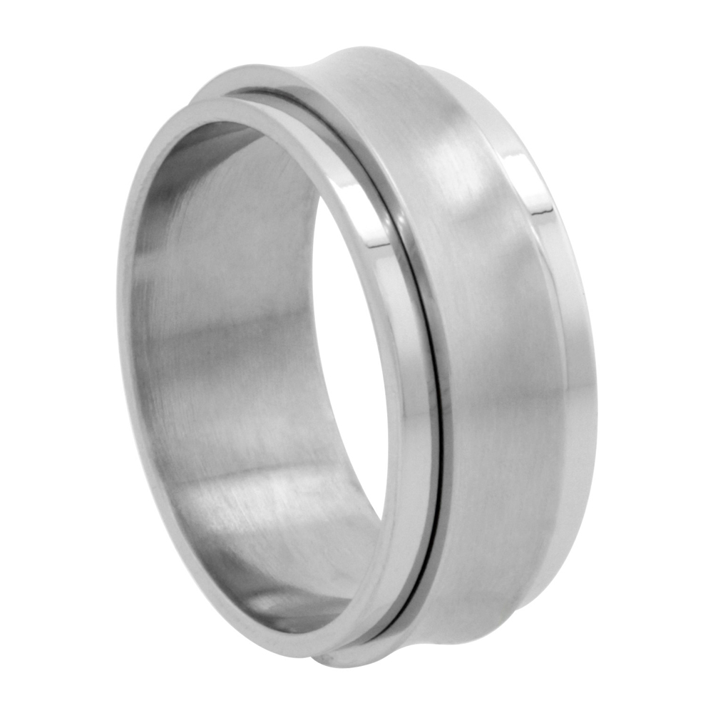 Surgical Stainless Steel Concaved Spinner Ring 9mm Wedding Band Matte Center, sizes 8 - 14
