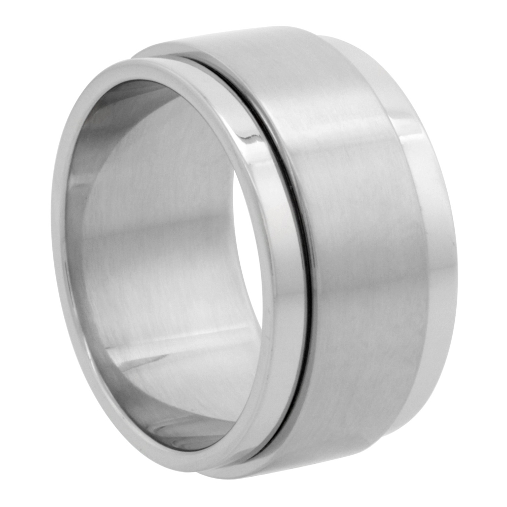 Surgical Stainless Steel 10mm Spinner Ring Wedding Band Matte Center, sizes 7 - 14