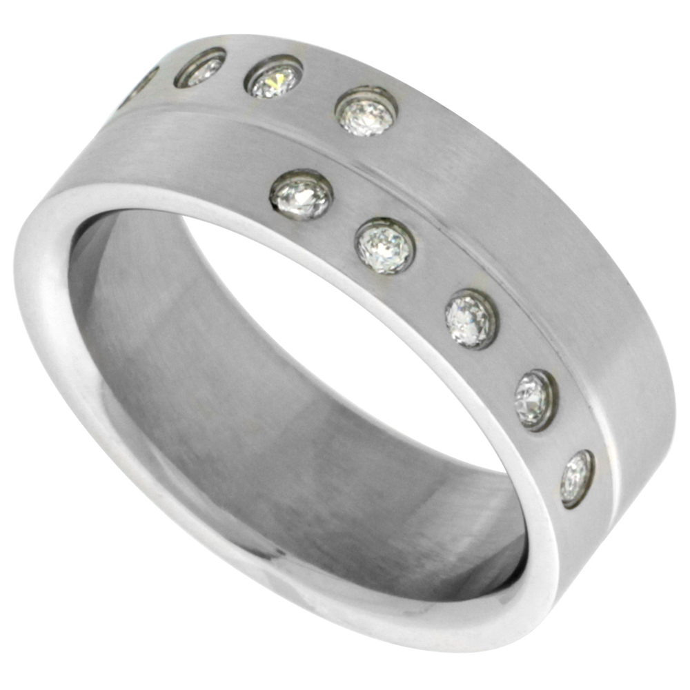 Surgical Stainless Steel 8mm CZ Wedding Band Ring Grooved Center 10 Stones Matte Finish, sizes 8 - 14