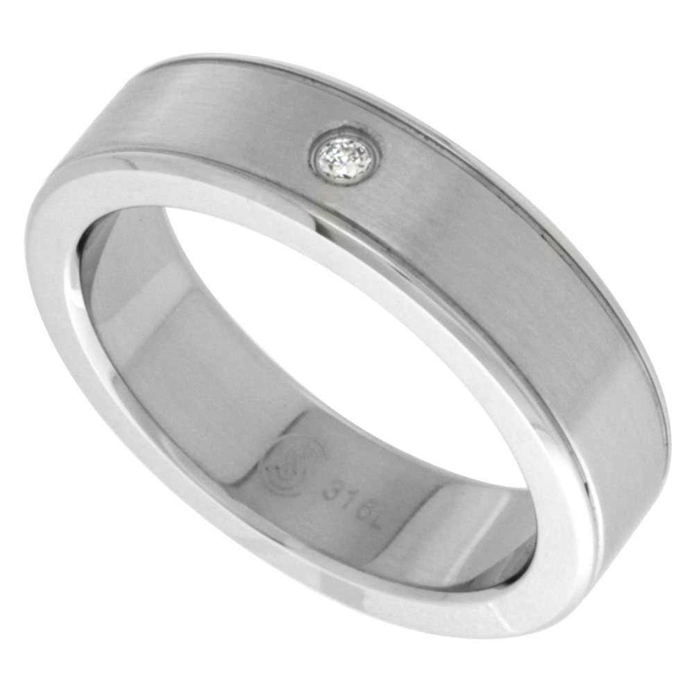 Surgical Stainless Steel 6mm Cubic Zirconia Wedding Band Ring Bullnose Grooved Edges, sizes 8 - 14